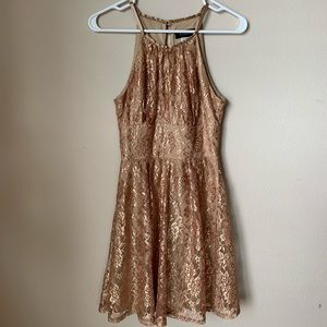 Gold material dress